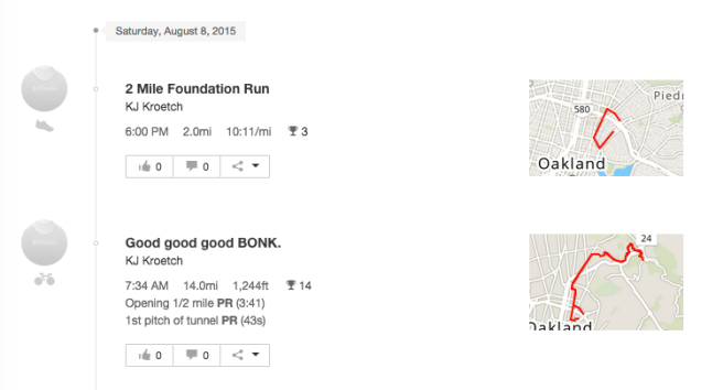 Even though they were poor workouts, nearly 10 hours apart, still gotta keep track.